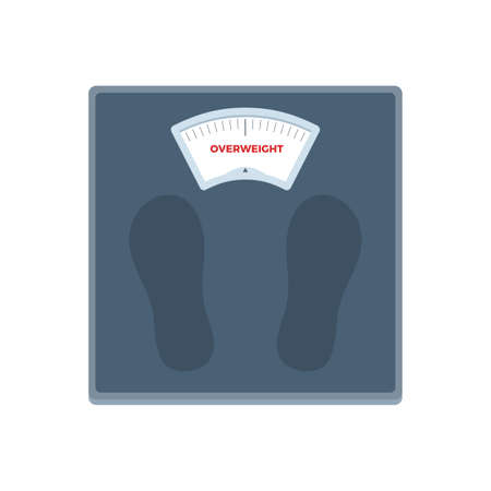 The Weight Scale with Overweight information. Isolated Vector Illustration  イラスト・ベクター素材