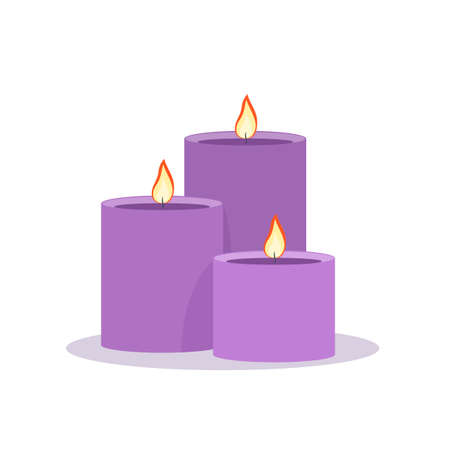 Three purple candles. Isolated Vector Illustration  イラスト・ベクター素材