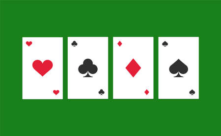 The poker card on green background. Isolated Vector Illustration  イラスト・ベクター素材