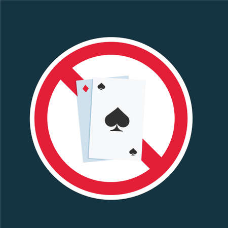 No Poker Card allowed. Isolated Vector Illustration  イラスト・ベクター素材
