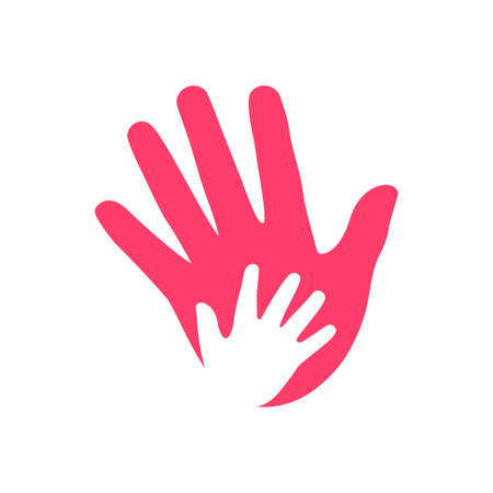 a pink adult hand with white baby's hand. Isolated Vector isolated