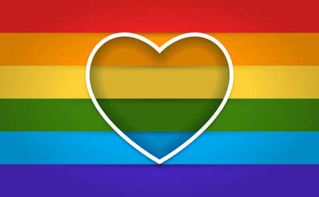 The LGBT Flag with heart frame. Isolated Vector Illustration