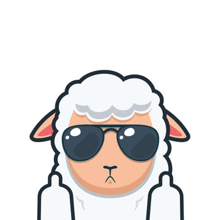 a white sheep with middle finger. Isolated Vector illustration Vetores