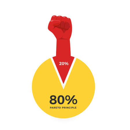 The infographic of pareto Principle with a red fist Vektorové ilustrace