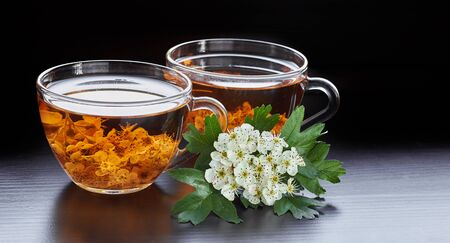 Haw herbal healing flower tea from hawthorn bloom with blossom of a tree nearby on wooden table isolated on black background, closeup, copy space, cardiovascular disease herbs concept