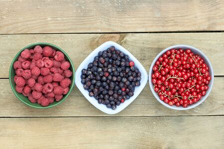 Bowls with fresh garden and forest berries: raspberry, purple shadberry, red currant overhead on the wooden table, flat lay, from above top viiew, closeup, copy empty space for your design