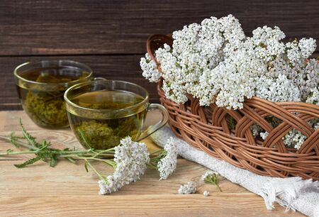 Yarrow herbal healing tea or decoction with fresh milfoil flowers nearby on rustic table on wooden background, closeup, copy space, alternative medicinal and naturopathy concept