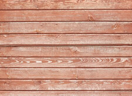 Wooden faded house wall painted in dark red or living coral, abstract background for your design Banque d'images - 140990697