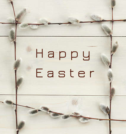 Happy easter in spring frame from pussy-willow branches flat on white wood, minimalism monochrome composition, empty space for your design, closeup, palm sunday, easter and mothers day holidays concept