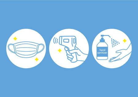 Illustration of infection prevention measures. Vector Illustratie