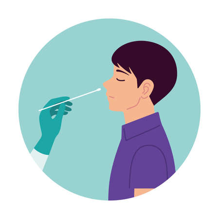 Nasal swab laboratory test,Study of patients stock illustration, Medical Test, Nose, Scientific Experiment, Cotton Swab, Virus.