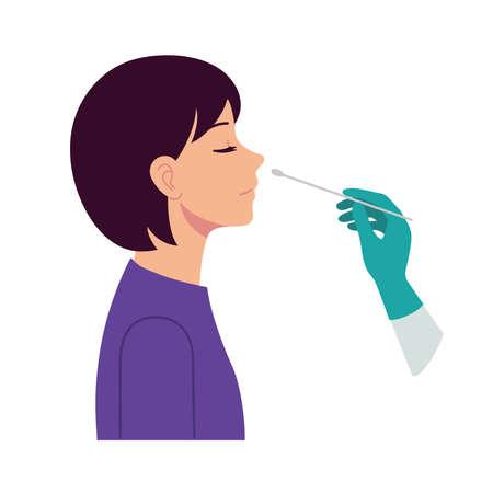 Nasal swab laboratory test,Study of patients stock illustration, Medical Test, Nose, Scientific Experiment, Cotton Swab, Virus. Ilustração