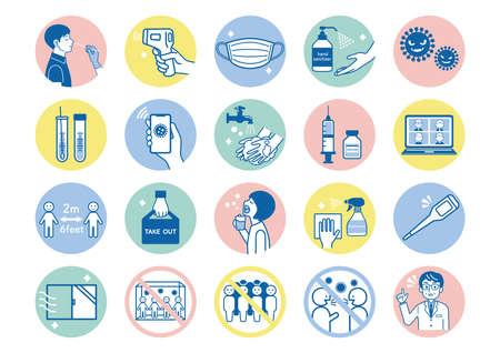 Illustration of corona virus infection prevention measures.