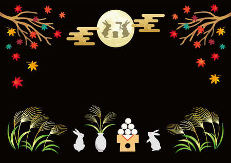 Full moon and rabbit. Moon viewing festival in Japan.  vector illustration.