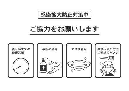 Illustration of infection prevention measures.Translation: wear a mask. disinfect hands. keep a distance. please refrain from entering the store if you have a high fever.It closes at 20:00.