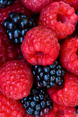 Mixed Berries - Raspberries and Blackberries 스톡 콘텐츠