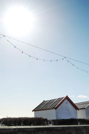 Beach hut on beach in the summer