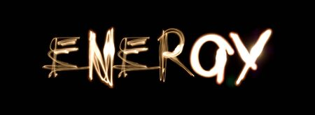 Light painting photograph of the word ENERGY