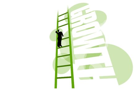 3D illustration of businessman stuck on ladder with missing rung stopping his growth, or growth of his business