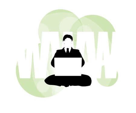 3D illustration of businessman on laptop against WWW background Banco de Imagens
