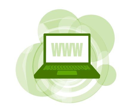 3D illustration of laptop computer displaying WWW against green background