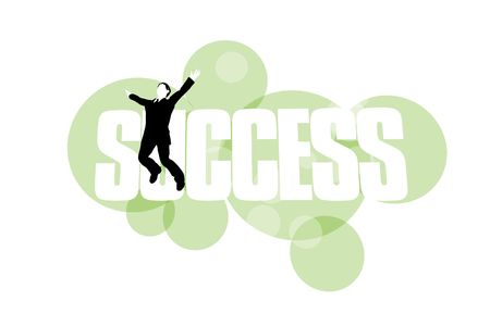 3D illustration of businessman jumping for joy against success background  Stock Photo