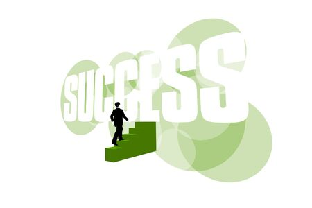 Businessman climbing stairs to success on white background Stockfoto