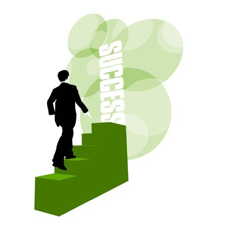 3D illustration of businessman climbing stairs to success door against green background Stockfoto