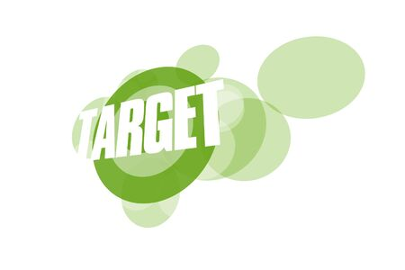 3D illustration of green target graphic on white background Stockfoto