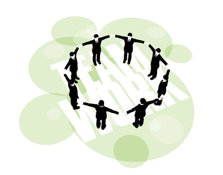 3D illustration of businessmen forming a secure ring by holding hands Stockfoto