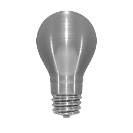3D illustration of metallic, brushed steel effect light bulb on white background