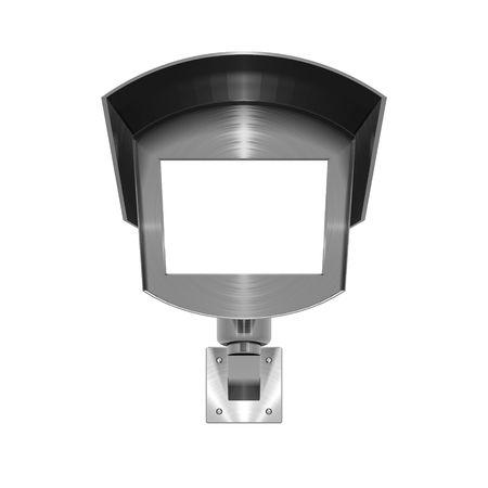3D illustration of metallic, brushed steel effect CCTV camera on white background Stockfoto