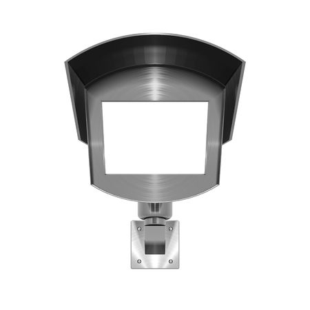 3D illustration of metallic, brushed steel effect CCTV camera on white background Stock Photo