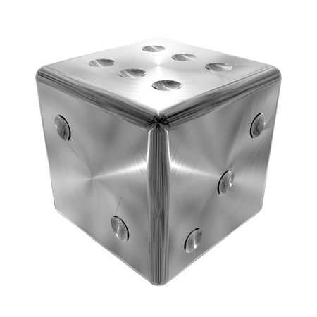 3D illustration of metallic, brushed steel effect dice on white background