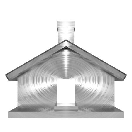 3D illustration of metallic, brushed steel effect house on white background