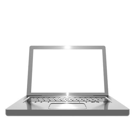 3D illustration of metallic, brushed steel effect angled laptop on white background