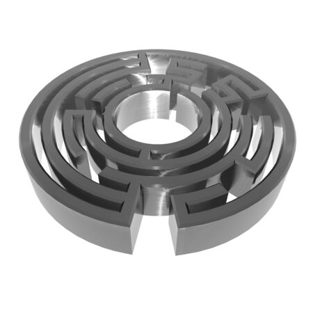 3D illustration of metallic, brushed steel effect maze on white background