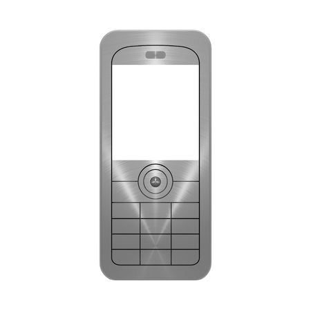 3D illustration of metallic, brushed steel effect mobile phone on white background