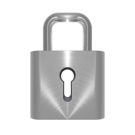3D illustration of metallic, brushed steel effect locked padlock on white background Stock Illustration - 5875882