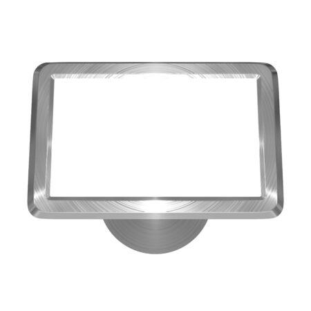 3D illustration of metallic, brushed steel effect satellite navigation on white background Stockfoto