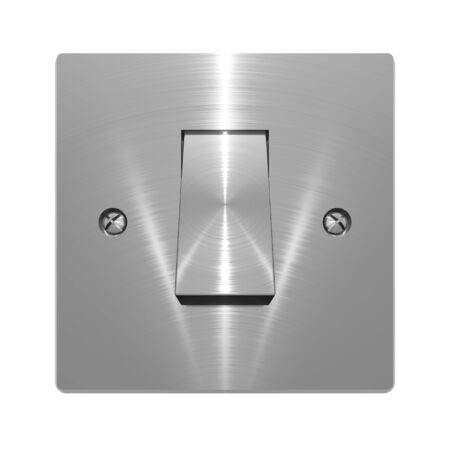3D illustration of metallic, brushed steel effect wall switch on white background