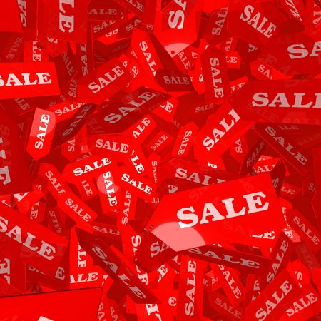 dropping: 3D Illustration of red SALE tags falling though the air
