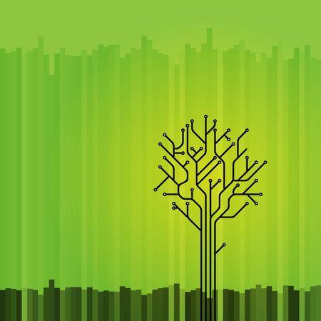 Circuit board tree on green Stock Photo