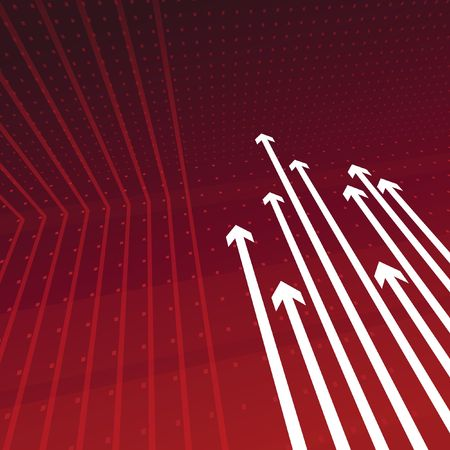 Dynamic perspective arrows on red