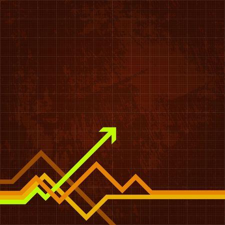 Green arrow pushing forward on grungy chart Stockfoto