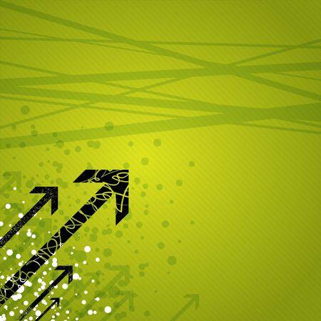 Dynamic arrows on green Stockfoto