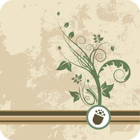 Acorn growth of green floral graphic