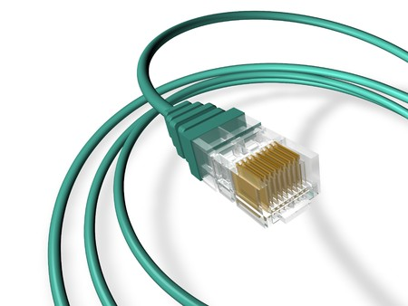 3D cropped render of an RJ45 ethernet cable, cropped.