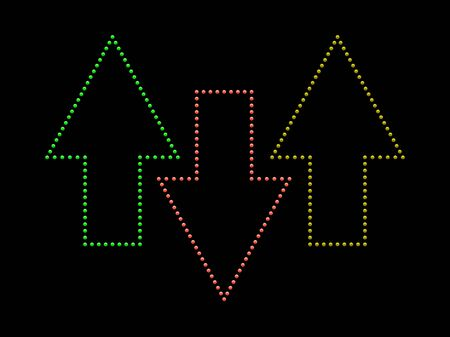 down lights: Illustration of colored arrows made up from shiny light buttons.