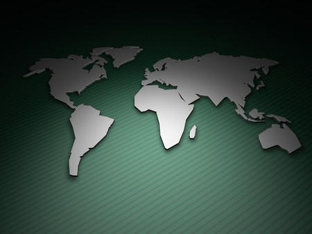 3D render of an extruded world map on a green geometric background with a single light source.